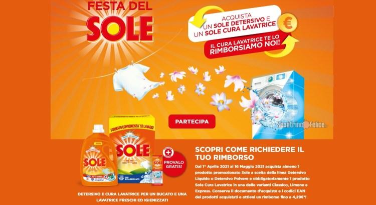 Cashback Festa del Sole richiedi il rimborso del Cura Lavatrice Sole