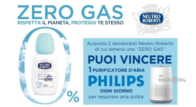 Concorso Neutro Roberts Zero gas rispetta il pianeta proteggi te stesso vinci Purificatori d'Aria Philips