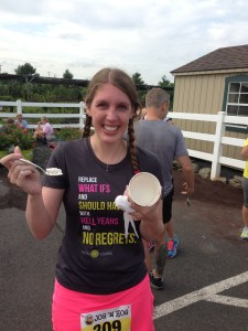 Christina finished her ice cream last year AND this year. She's thinking full next year!