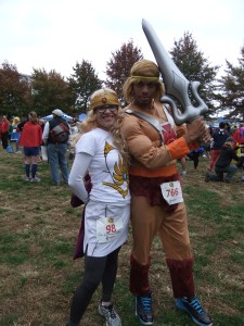 Jenn as She-Ra, with He-Man, at the 2012 Super Hero 5K In Cambridge, MA.