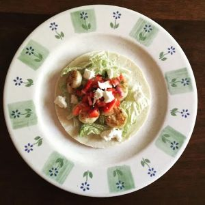 Chipotle Lime Shrimp Tacos with Strawberry Salsa - I would push people out of the way for this.