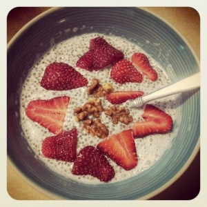 Vanilla Chia Pudding with Candied Walnuts and Fresh Berries