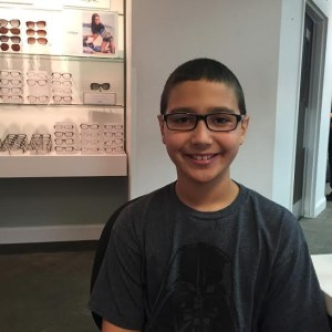 Getting his first pair of glasses? EXCITED!