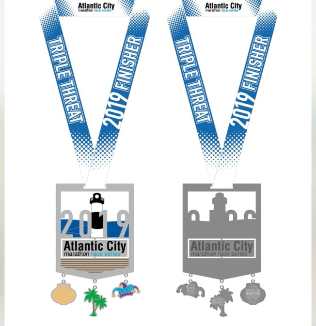 Atlantic City Marathon Series Triple Threat Medal