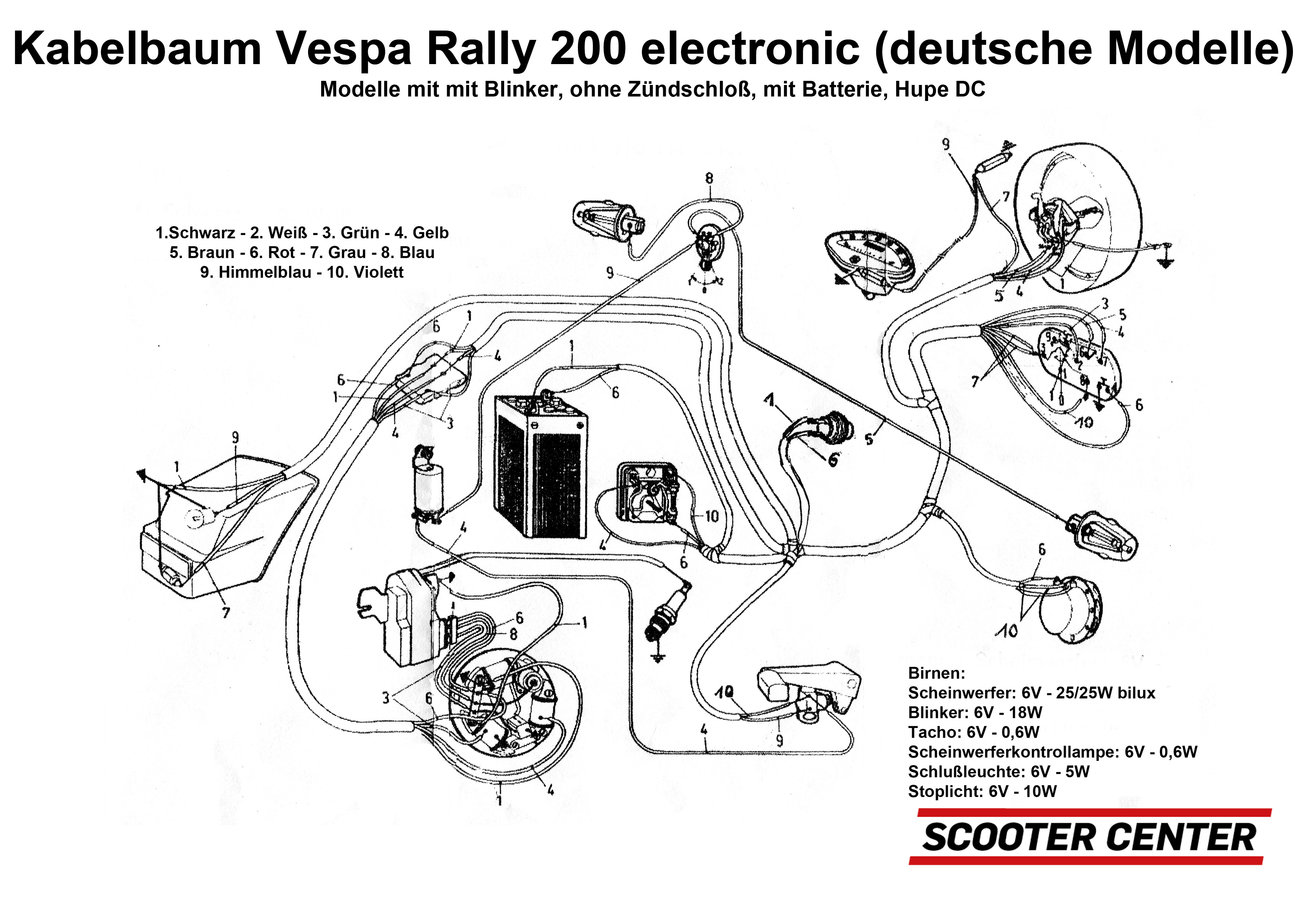 Wiring Loom Bgm Pro Vespa Rally200 Electronic German