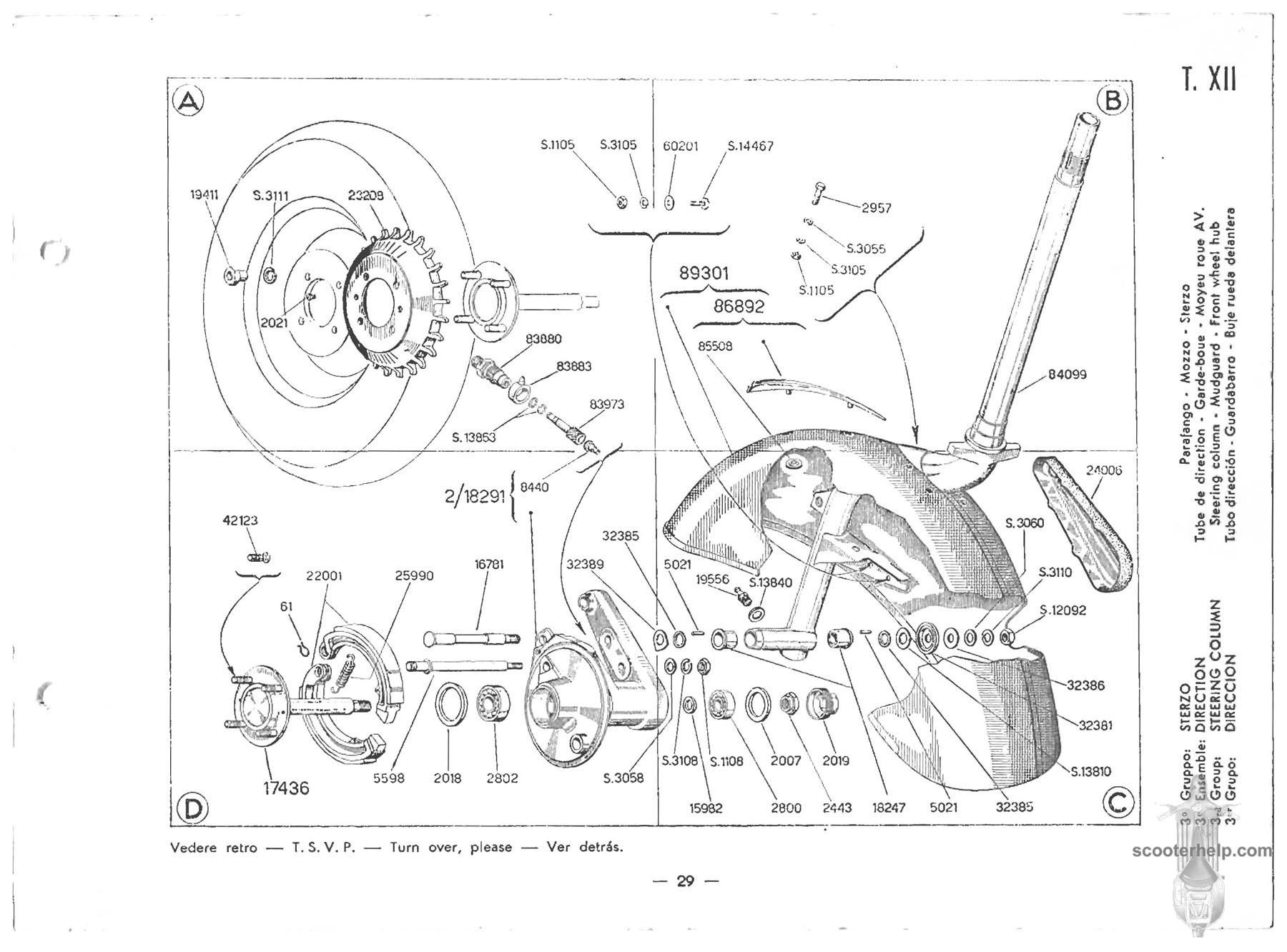 Modern Vespa Vba Vbb Front Fork Pivot Spacer