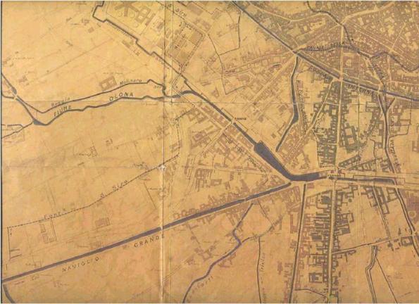particolare mappa di Milano dopo il 1870 – Zona Navigli