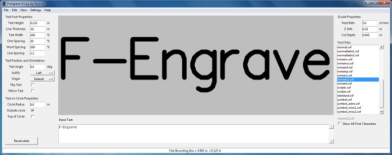 F-Engrave – open source gcode generator for CNC Engraving and V