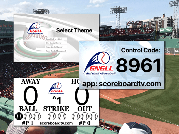Shows multiple scoreboards with customized logos and themes.