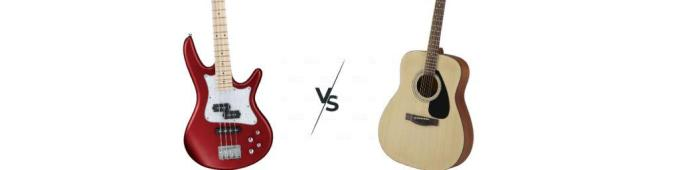 acoustic guitar vs bass guitar