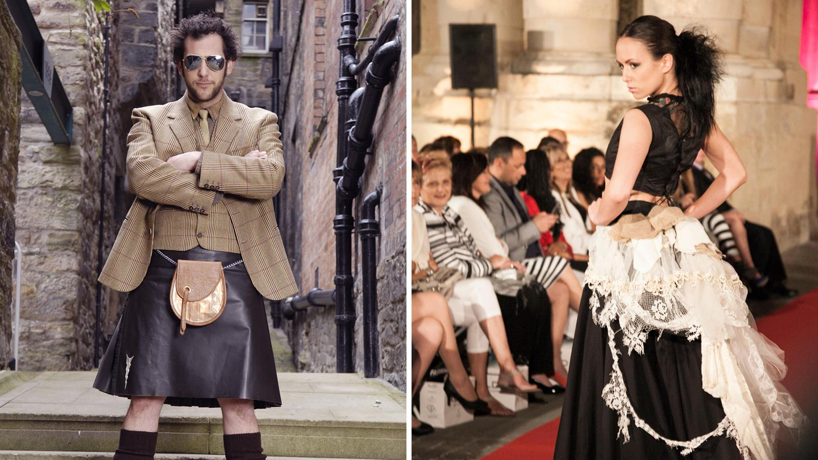 At left, Howie Nicholsby of 21st Century Kilts models his own designs; at right, Judy R Clark's designs incorporate elements like Scottish lace and tartan (Credit: Alamy)