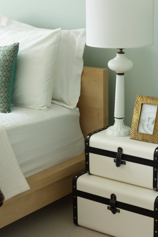Use suitcases as bedside table