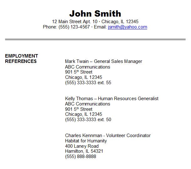 job references format sample