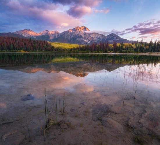 Landscape Photography of Pyramid Mountain and Patricia Lake in Jasper National Park at sunrise