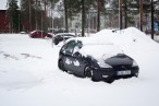 Cars trapped in the snow after a freak snowstorm.