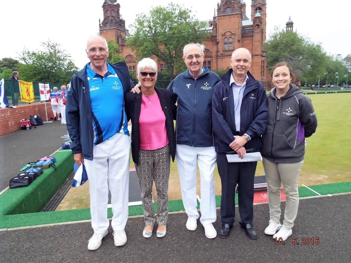 Ron McArthur, Janice Eaglesham, Bob Dick, Gavin Macleod and Becky Bisland at Kelvingrove Lawn Bowls Centre