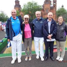 Ron McArthur, Janice Eaglesham, Bob Dick, Gavin Macleod and Becky Bisland at Kelvingrove Lawn Bowls Centre