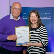 Ian Gray receiving the MOR certificate on behalf of South Lanarkshire Disability Sport