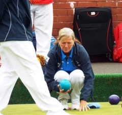 Visually impaired bowler with director