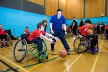 Wheelchair basketball practice with Jen Scally from SDS supervising