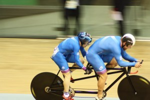 Neil Fachie and Craig MacLean on the track at the 2014 Commonwealth Games