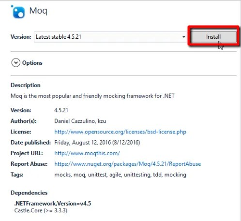 """Click the """"Install"""" button, to add Moq to the project"""