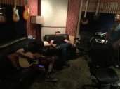 Hanging out in the control room between takes on our big bedtracks day, when we recorded all the drums, bass, and keys (plus a few guitar tracks kept). Adrian, Eric and Derek make a long day in the studio fun.