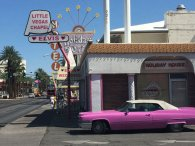 You can't miss the Little Vegas Chapel with its Elvis-approved pink Cadillac out front.