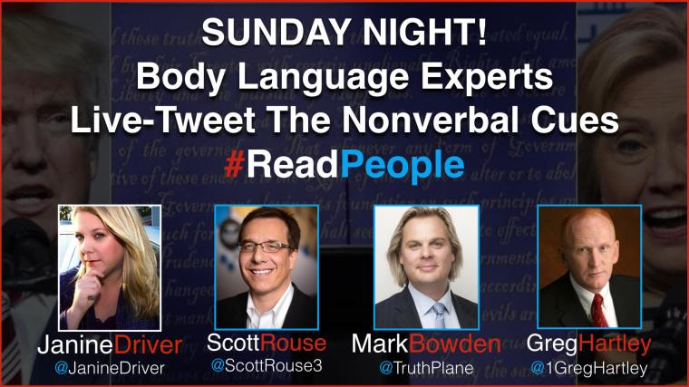 janine driver, greg hartley, mark bowden, scott rouse, top body language experts, body language experts,