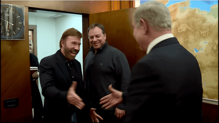 Chuck Norris Meeting Benjamin Netanyahu - Chuck Norris and Benjamin Netanyahu - The nonverbals of mutual admiration between Chuck Norris and Prime Minister Benjamin Netanyahu