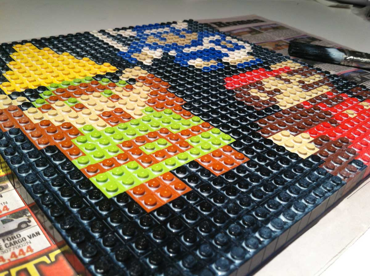 My Very First Lego Mosaic     NES Nostalgia Style      Glued   Framed     lego mosaic glue4