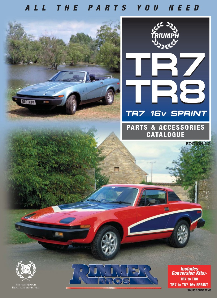 TRIUMPH TR7 PARTS GUIDE - RIMMER on SCOTTYS Supplier Library PIC 3
