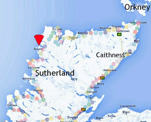 Scourie located on North Coast 500 (NC500) map