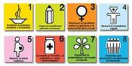 Logos de los 8 objetivos de desarrollo del milenio