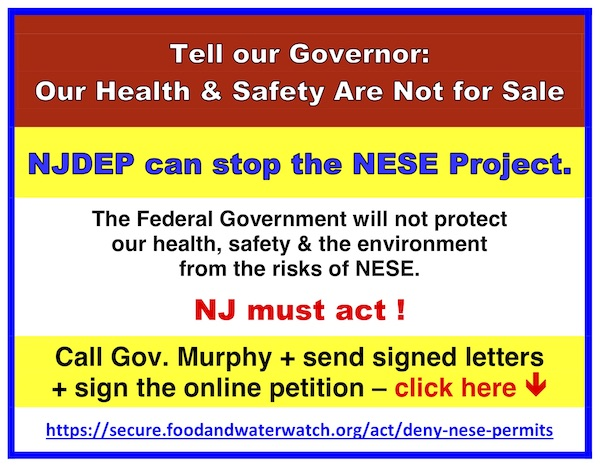 keep urging Governor Murphy and the NJDEP to deny water permits for the construction of the Raritan Bay loop pipeline and Compressor Station 206!
