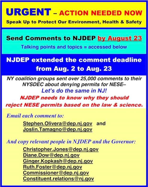 image with a header that says 'Send comments to NJDEP by August 23'