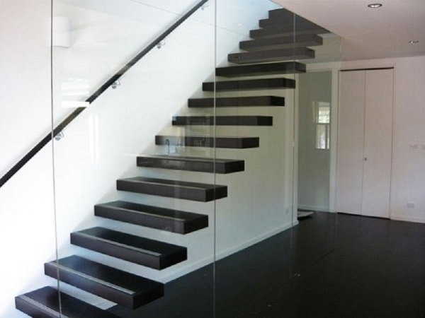 What Are The Advantages Of Cantilevered Stairs   Cantilever Staircase Structural Design   Steel   Structure   Metal   Exposed Brick Wall   Wood