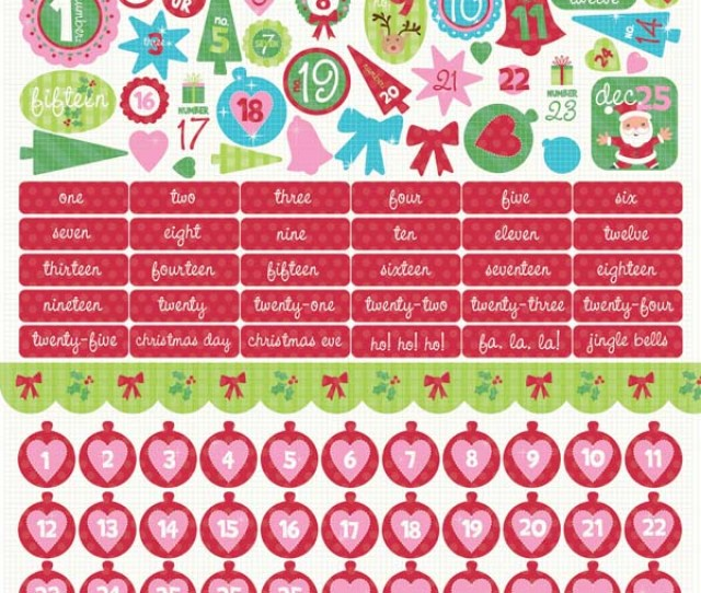 Kaisercraft Mint Twist Collection Christmas  Sticker Sheet Numbers