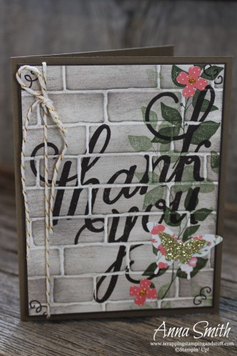 Secret Garden Thank You card made with Another Thank You, Summer Silhouettes and Friendly Wishes stamp sets, brick wall embossing folder and butterfly punches