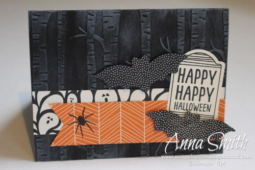 Happy Haunting Card using Sweet Hauntings and Cheer All Year stamp sets and Woodland embossing folding