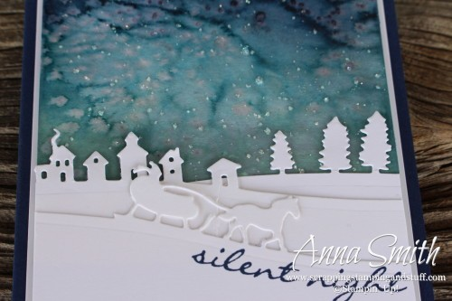 Inspire Create Share Blog Hop featured project: Watercolor Christmas card using Sleigh Ride Edgelits and Jingle All The Way stamp set