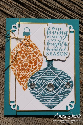 See how to make this beautiful glimmering ornaments card using the Stampin' Up! Embellished Ornaments stamp set and Simply Scored scoring board.