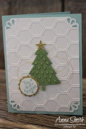 Peaceful Pines Christmas Card using Honeycomb Hive embossing folder and Curvy Corner Trio Punch