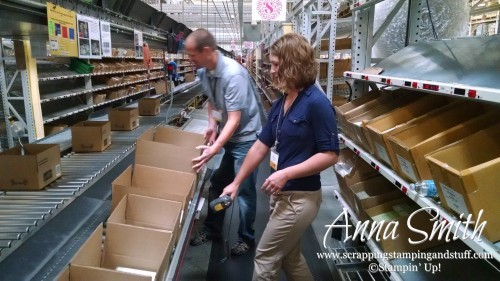 Anna Smith, Independent Stampin' Up! Demonstrator helping on the pick line at the Stampin' Up! distribution center