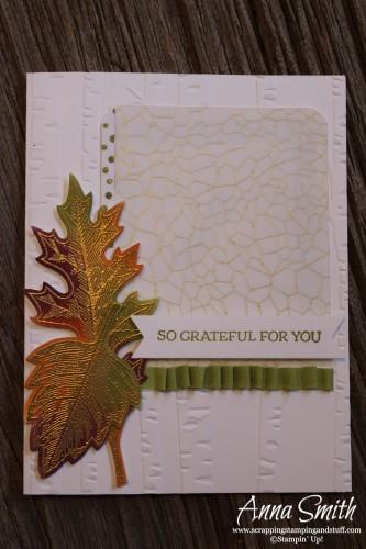 Grateful For You card using Stampin' Up! Vintage Leaves, Lighthearted Leaves and Winter Wonderland Designer Vellum