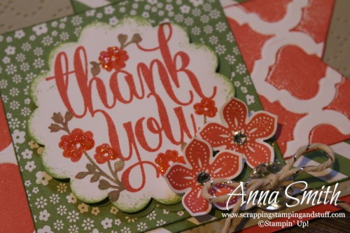Pretty thank you card using Stampin' Up! Whole Lot of Lovely and Petite Petals stamp sets