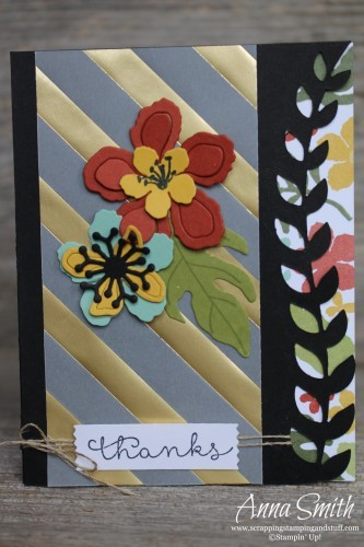 Sneak Peek!! Handmade Thank You featuring Stampin' Up! Botanical Blooms stamp set, framelits and designer paper, also Cottage Greetings stamp set