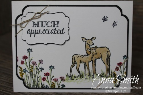 Sneak peek of the new Stampin' Up! Occasions Catalog! Thank you card with watercolor deer using the In the Meadow and Helping Me Grow stamp sets.