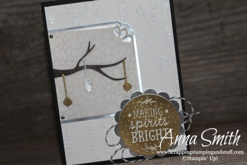 Among the Branches Christmas Card - this stamp set is retiring soon! Also uses the Woodland embossing folder.