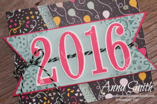 Happy New Year card using Stampin' Up! Number of Years stamp set, Large Numbers dies and It's My Party designer paper.